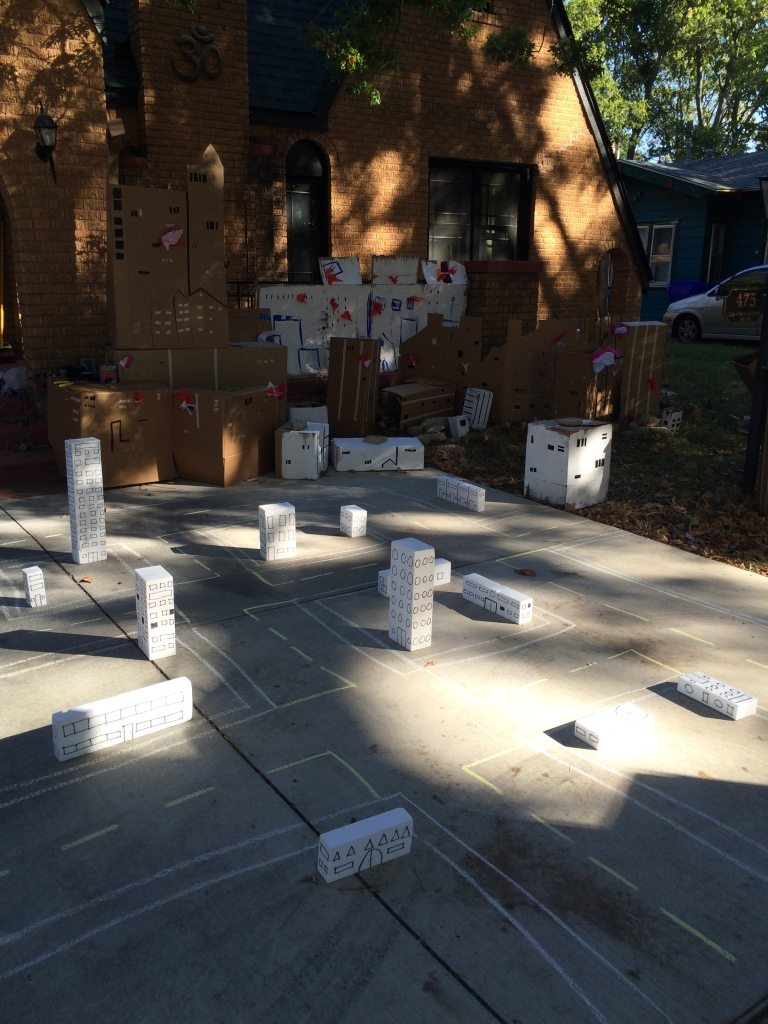 People were allowed to kick down the white styrofoam blocks for fun