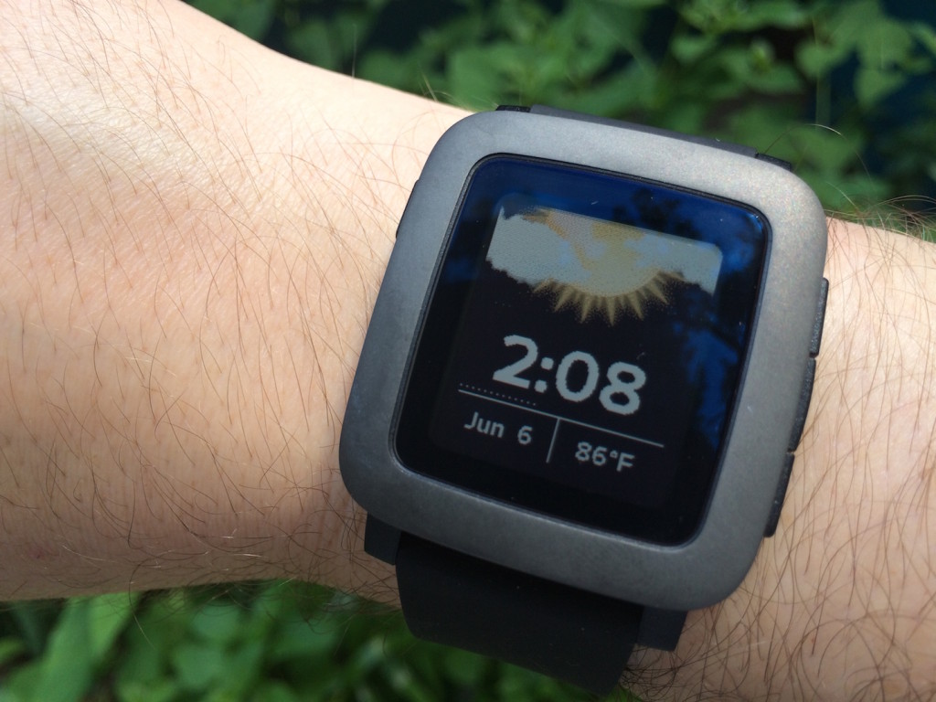 The Pebble Time on my wrist