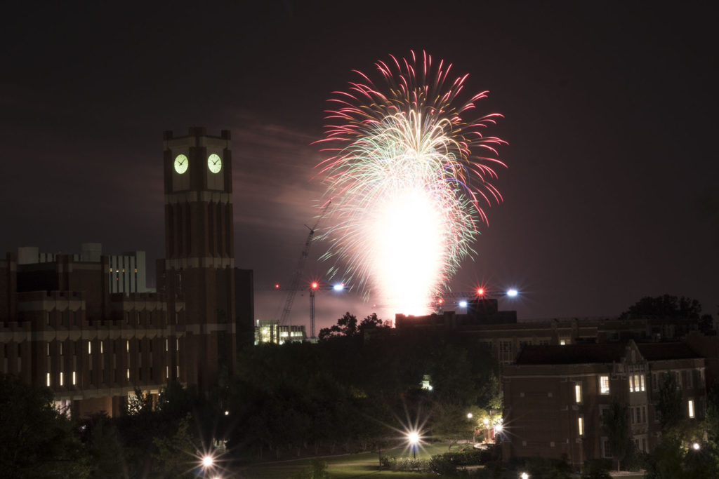 Fireworks at OU - photo by Dennis Spielman
