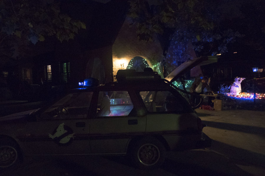 The Ghostbusters car and haunted house