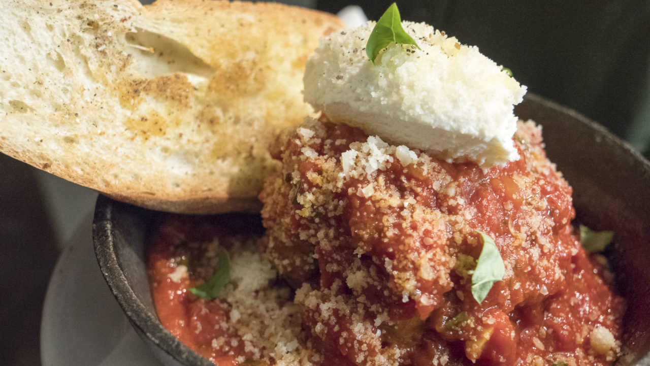 Meatball at Osteria - photo by Dennis Spielman