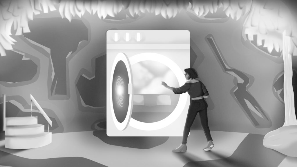 Through the Washing Machine - art by Henry Yusman - black and white copy